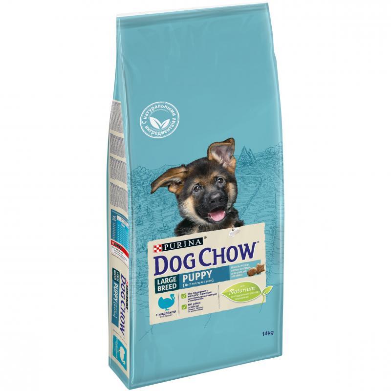Сухой корм для щенков больших пород DOG CHOW с индейкой, 14кг