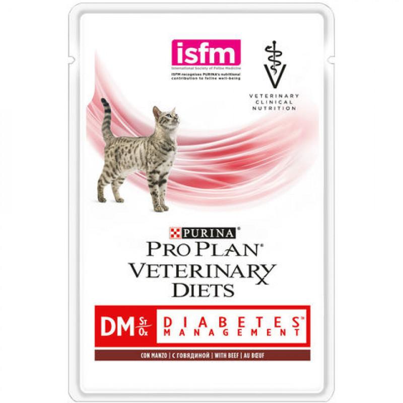 """Влажный корм для кошек при сахарном диабете с говядиной """"Purina Pro Plan (вет. корма)"""" DM, 85гр"""
