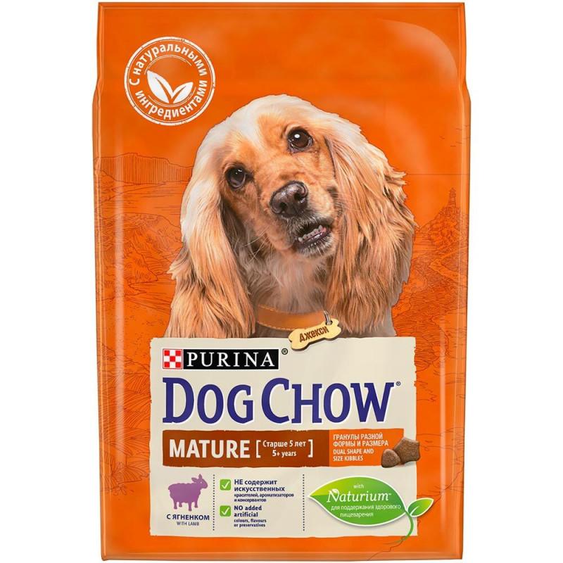 Сухой корм DOG CHOW Mature Adult для взрослых собак старше 5 лет с ягненком, 2, 5 кг