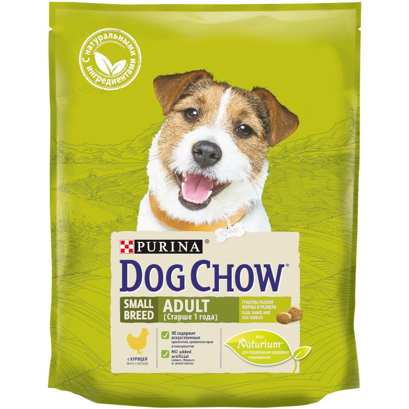 Сухой корм Dog Chow для взрослых мелких пород, с курицей, 800 гр