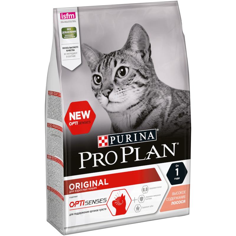 """Сухой корм для взрослых кошек для поддержания органов чувств со вкусом лосося """"Purina Pro Plan"""", 3кг"""