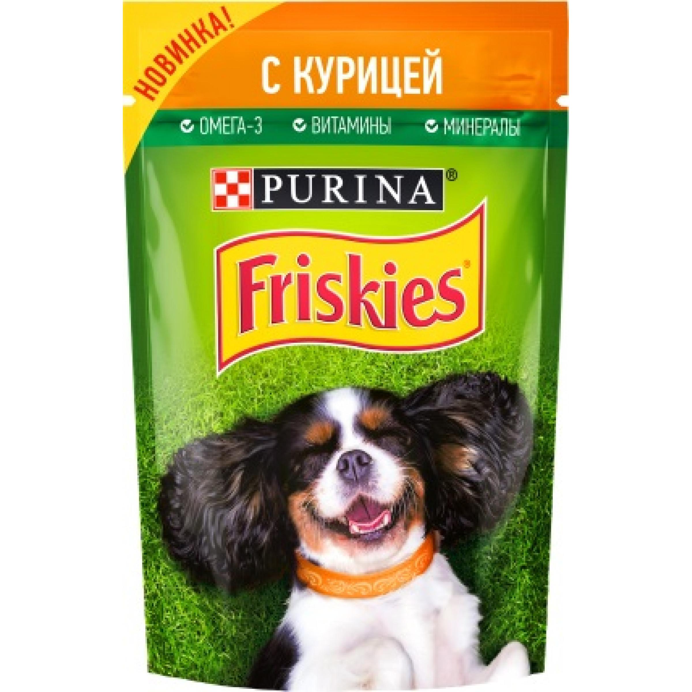 Корм консервированный Purina® Friskies. полнорационный для взрослых собак кусочки с курицей в подливе, 85гр