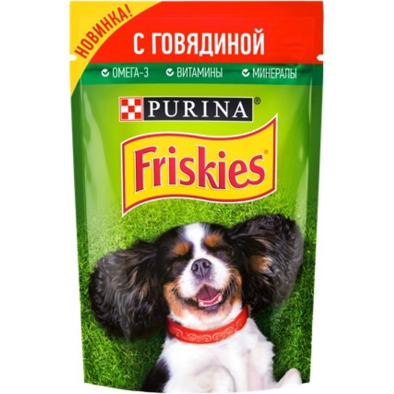Корм консервированный Purina® Friskies® полнорационный для взрослых собак кусочки с говядиной в подливе, 85гр