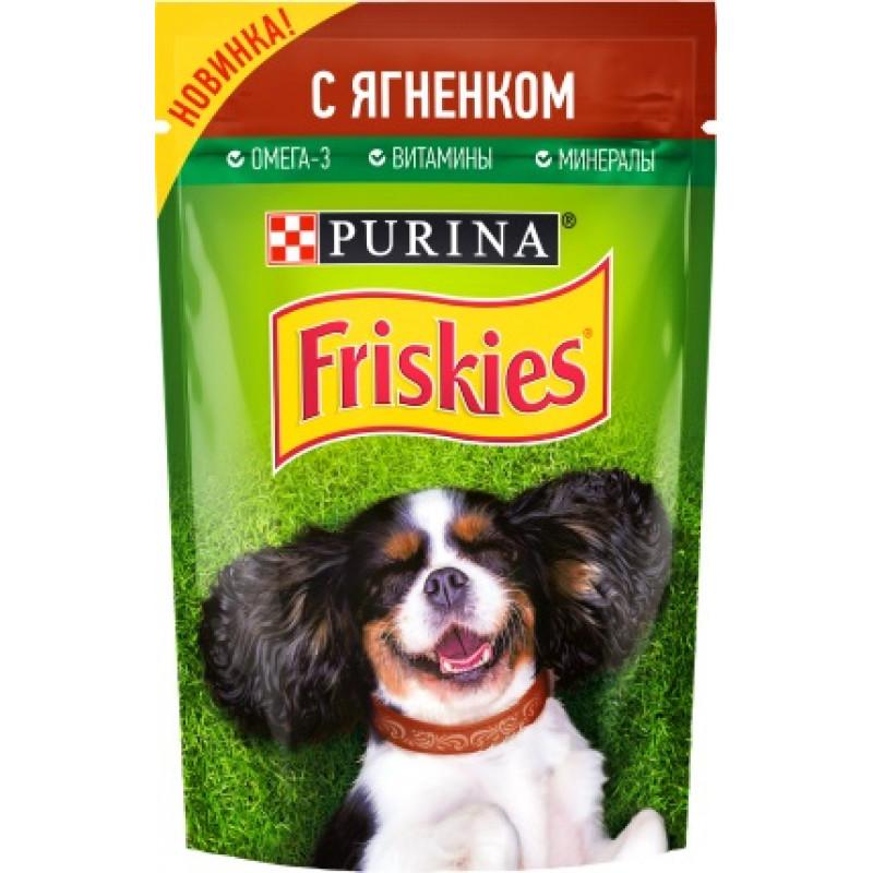 Корм консервированный Purina® Friskies® полнорационный для взрослых собак кусочки с ягненком в подливе, 85гр
