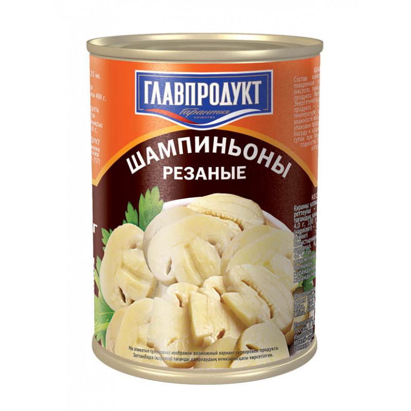 Грибы шампиньоны резаные ГЛАВПРОДУКТ, 400гр