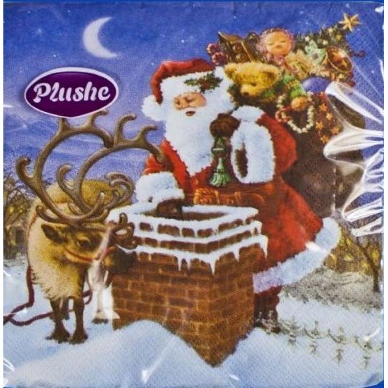 """Салфетки бумажные """"PLUSHE"""" Санта на крыше 33*33см 3х слойные, 18 листов"""