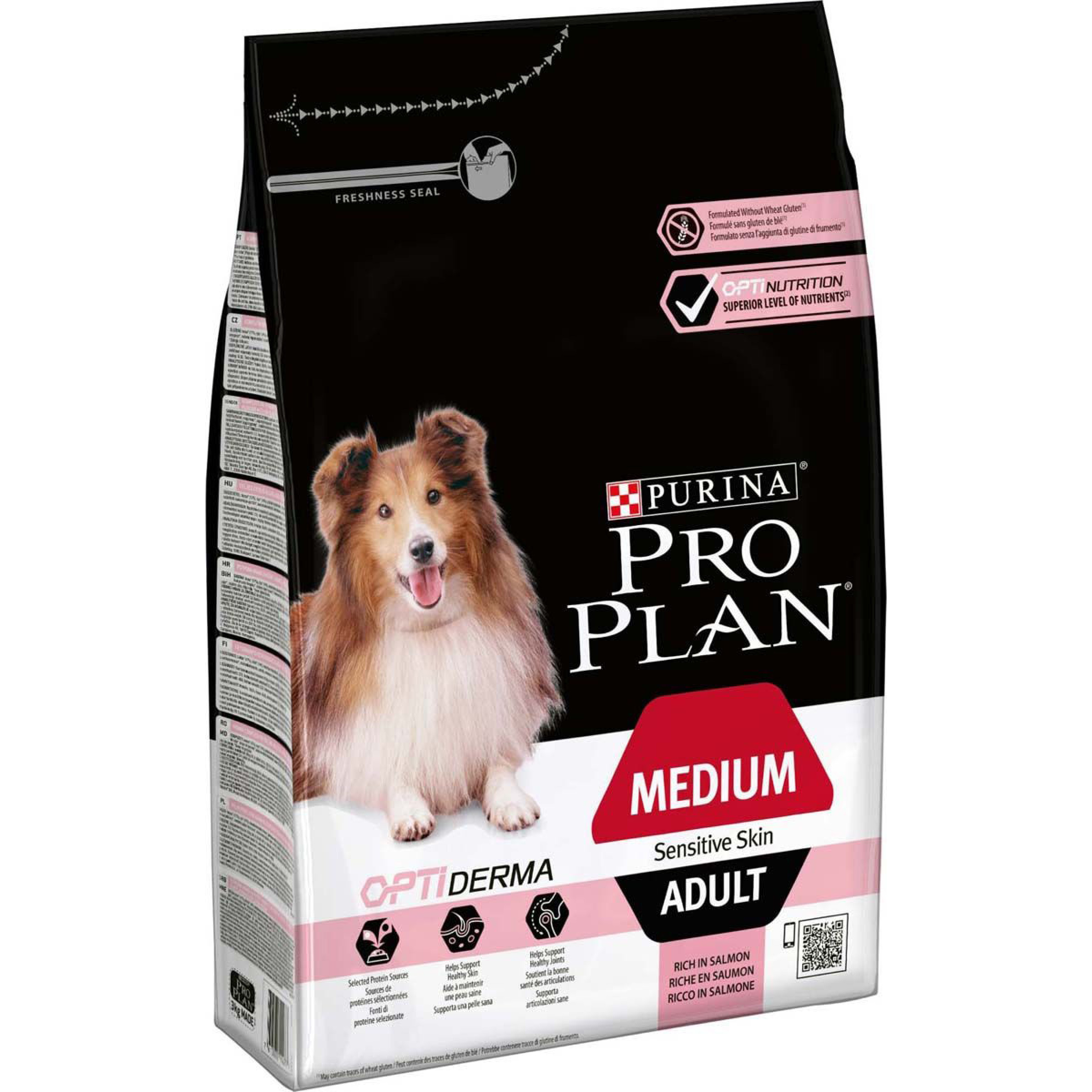"""Корм сухой Pro Plan """"Optiderma Medium"""" для взрослых собак старше 7 лет средних пород с чувствительной кожей, с лососем, 14 кг"""