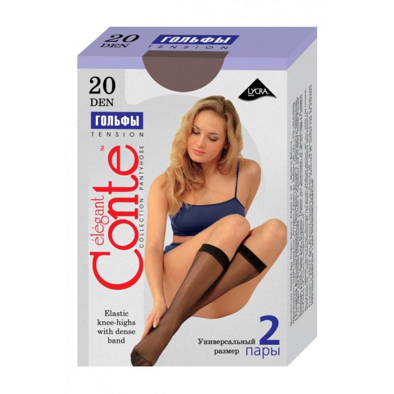 Гольфы женские Conte Tension, цвет nero, 20 den, 2 пары
