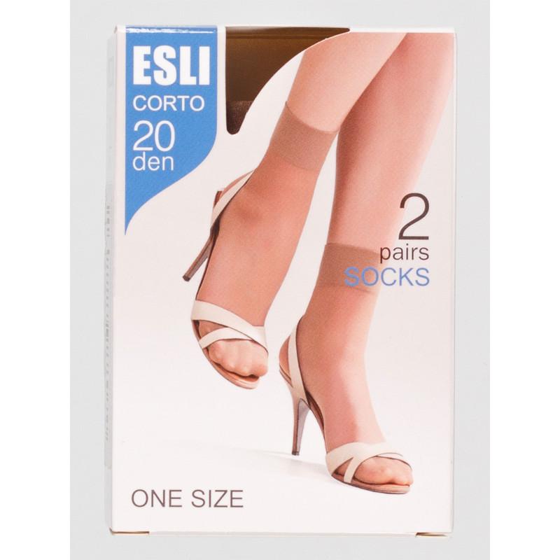 Носки женские Esli Corto, цвет nero, 20 den, 2 пары