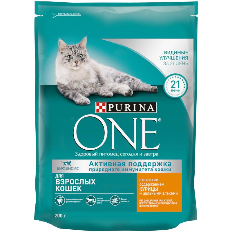 Корм Purina ONE для взрослых кошек с курицей и злаками, 200гр