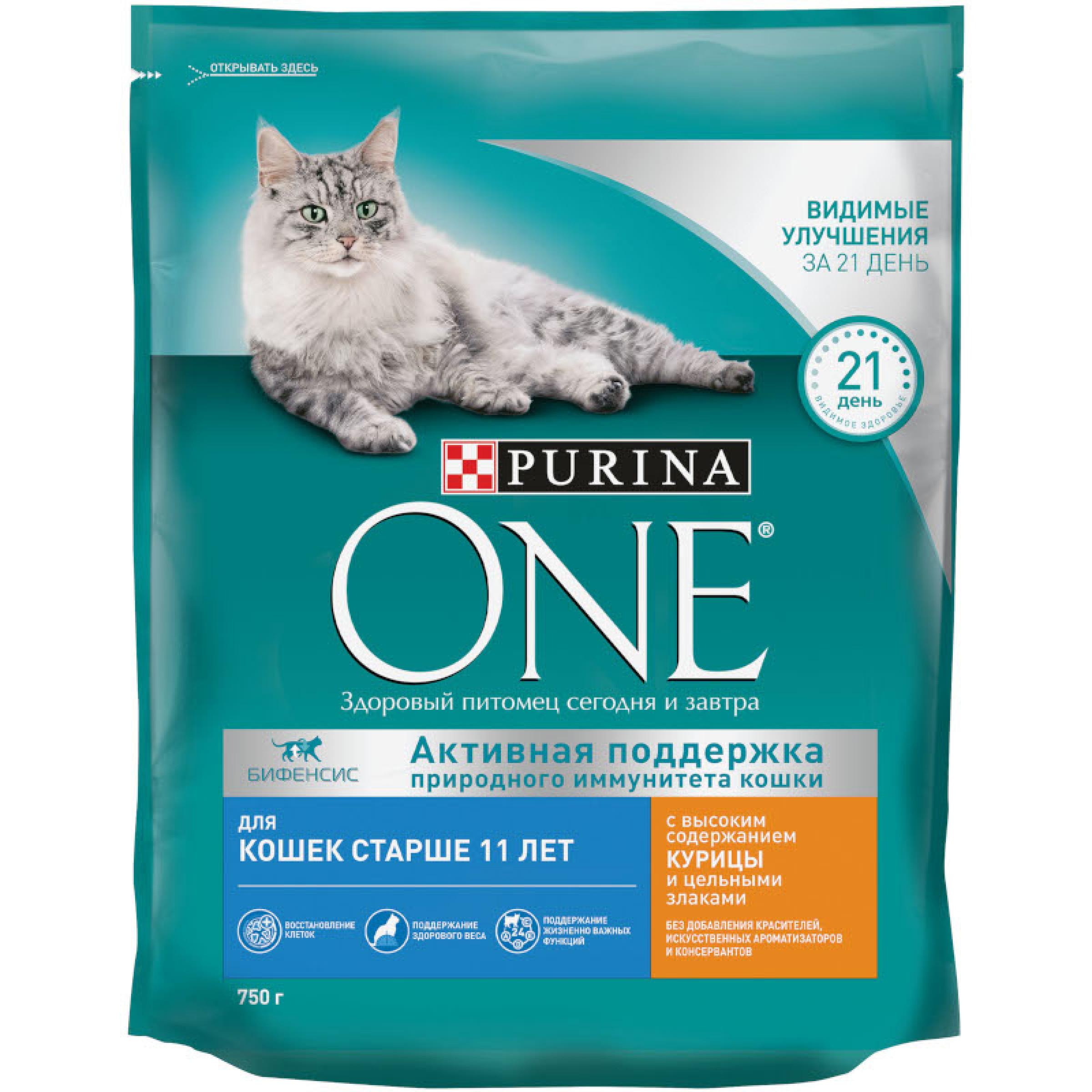 Сухой корм Purina ONE® для кошек старше 11 лет с высоким содержанием курицы и цельными злаками, 750 г