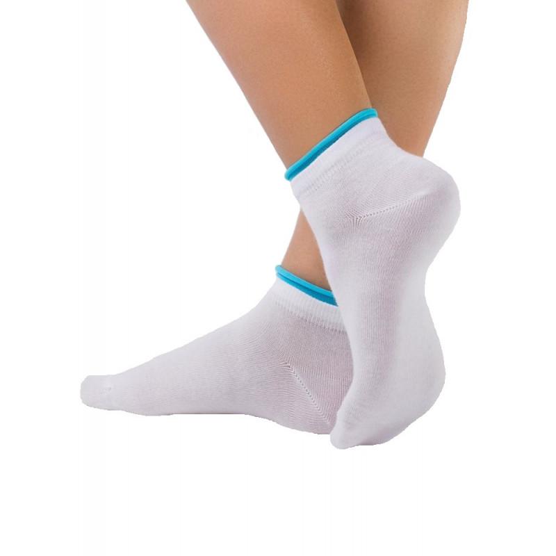 Носки женские CONTE ACTIVE хлопковые укороченные, белый-светло-голубой, размер 23