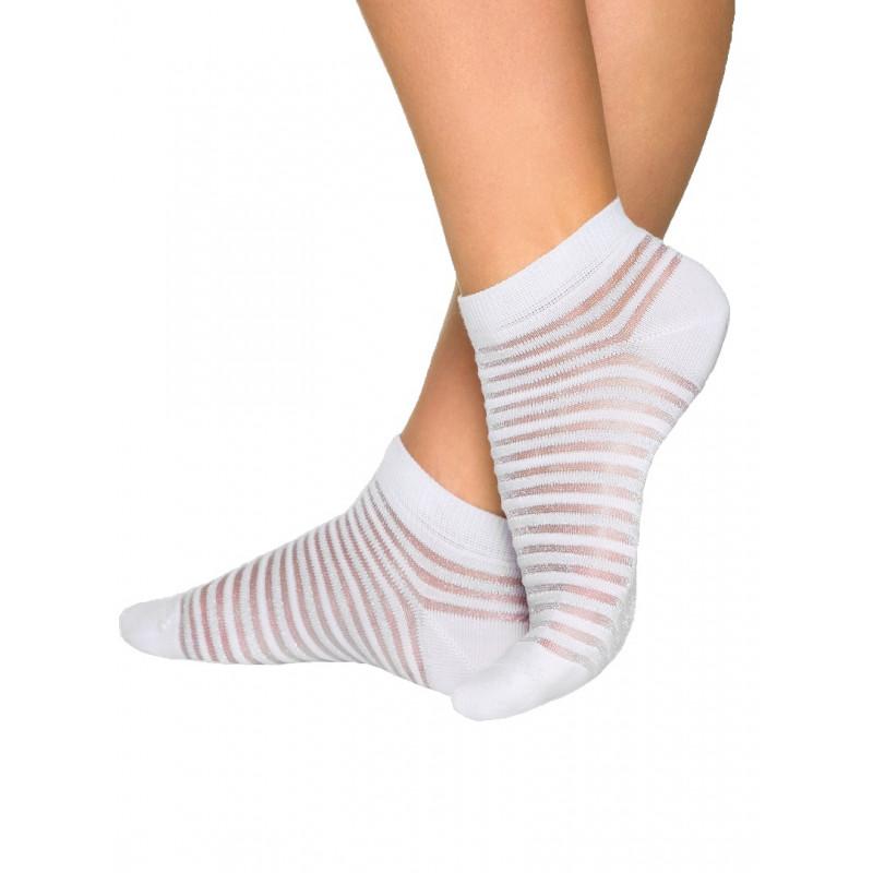 Носки женские CONTE ACTIVE хлопковые с люрексом, короткие, белые, размер 25