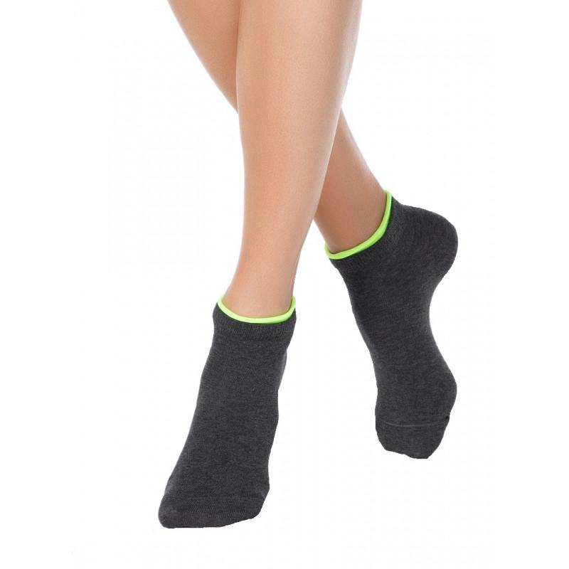 Носки женские CONTE ACTIVE хлопковые укороченные, темно-серые, размер 23