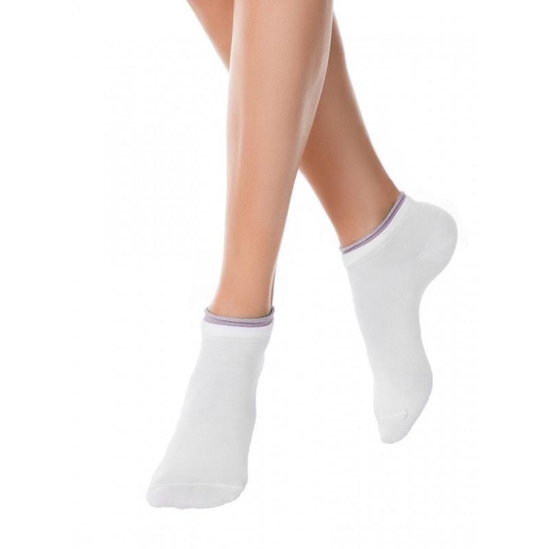 Носки женские CONTE ACTIVE хлопковые укороченные, белый-сиреневый, размер 25