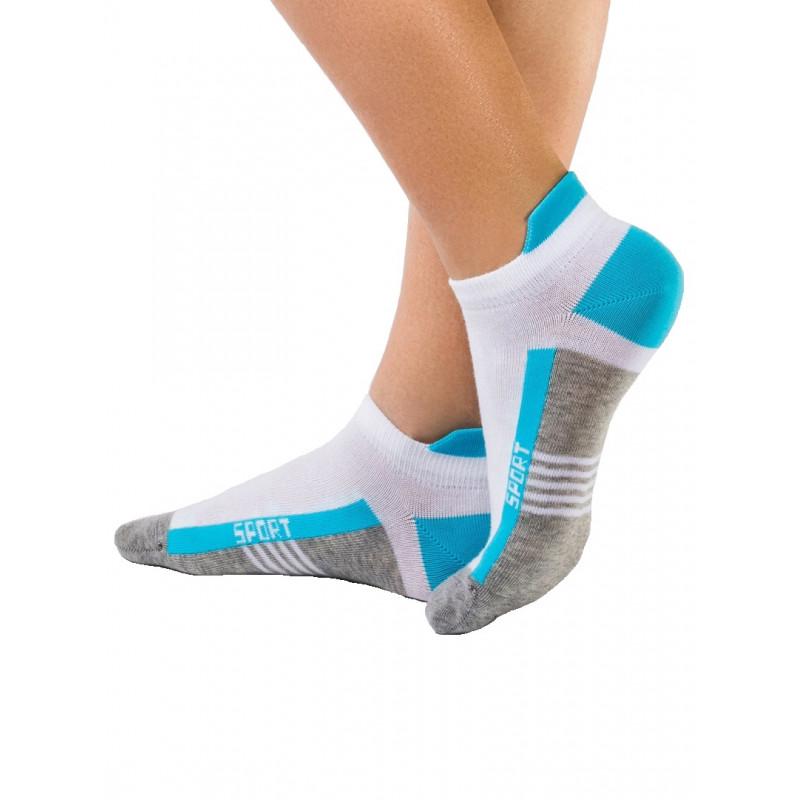 Носки женские CONTE ACTIVE хлопковые, ультракороткие, серый-бирюза, размер 25