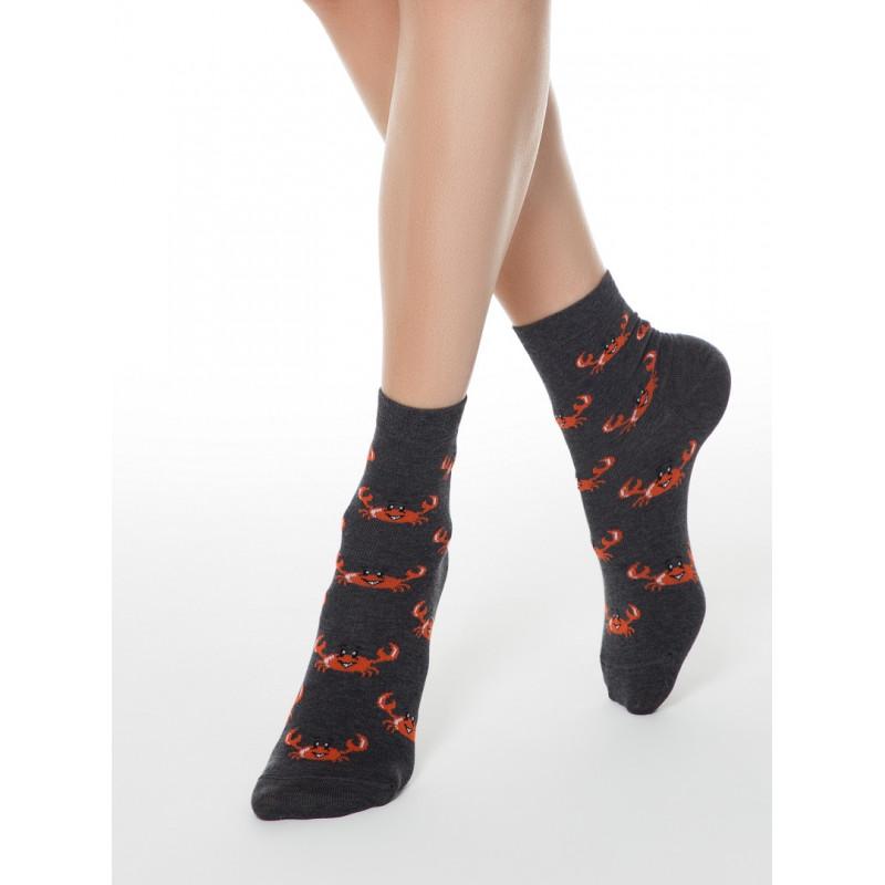 Носки женские CONTE CLASSIC хлопковые темно-серые, размер 23