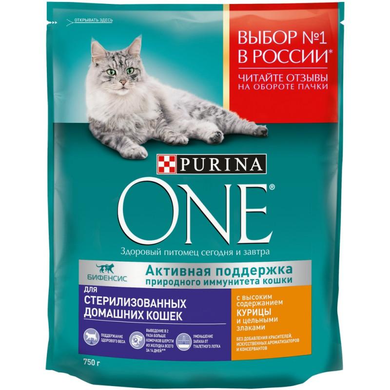Сухой корм Purina ONE для домашних стерилизованных кошек и котов, курица, 750г