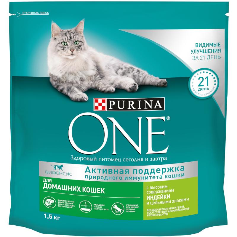 Сухой корм Purina ONE для домашних кошек с индейкой, 1, 5 кг