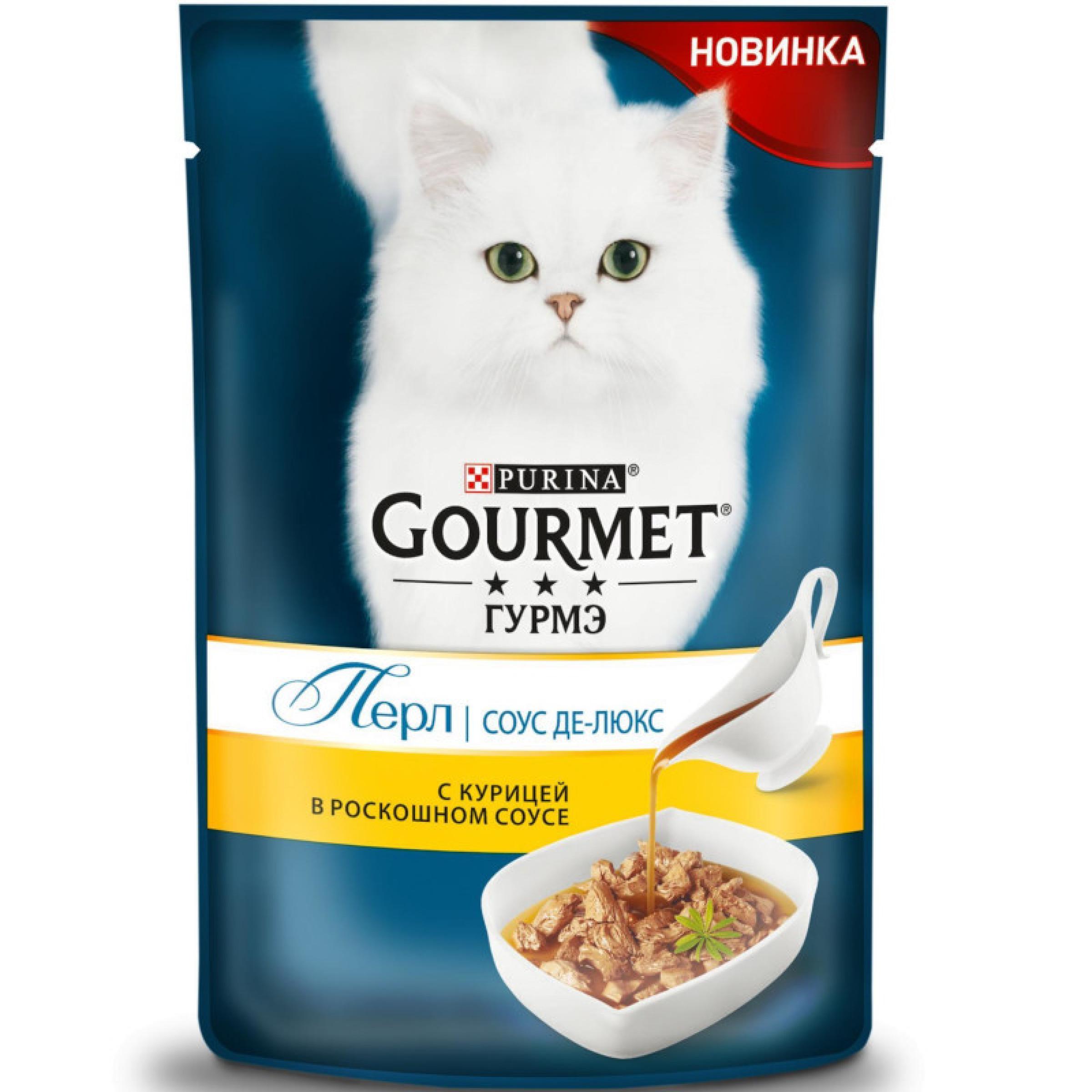 Влажный корм Purina Gourmet Гурмэ Голд Соус Де-люкс для кошек с курицей в роскошном соусе, 85 гр
