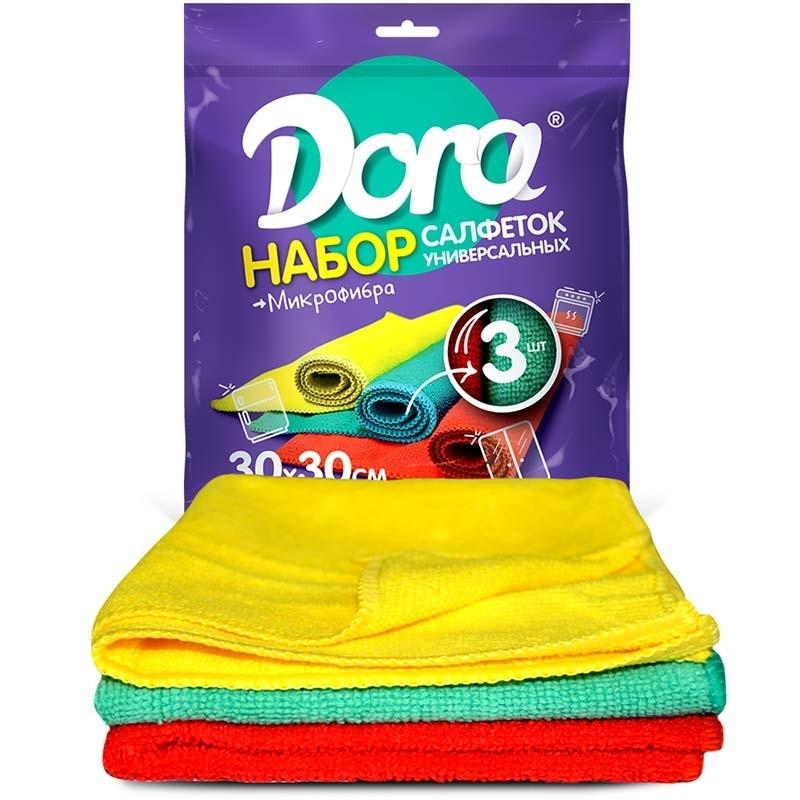 Салфетка Malibri Dora универсальная из микрофибры, 30см х 30см, 3шт