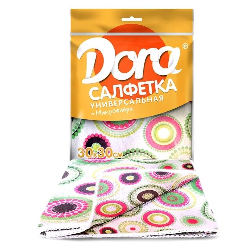 Салфетка Dora универсальная из микрофибры с рисунком, 30см х 34см, 5шт