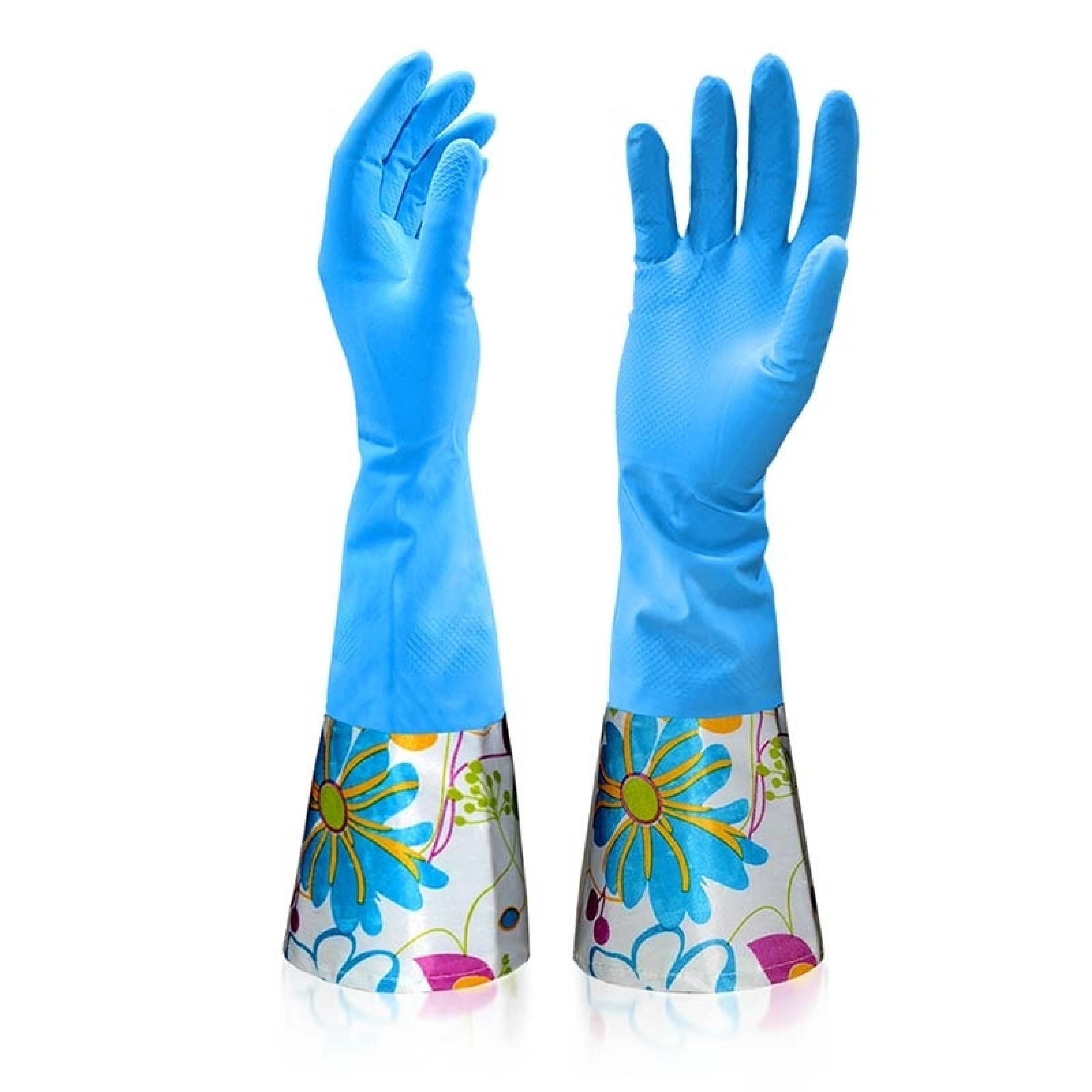 Перчатки латексные с хлопковым напылением и удлиненной манжетой размер L Malibri, 1шт