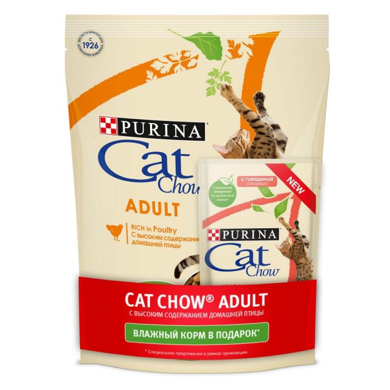 Сухой корм для взрослых кошек Purina Cat Chow домашняя птица, 400 гр+ пауч 85 гр в подарок