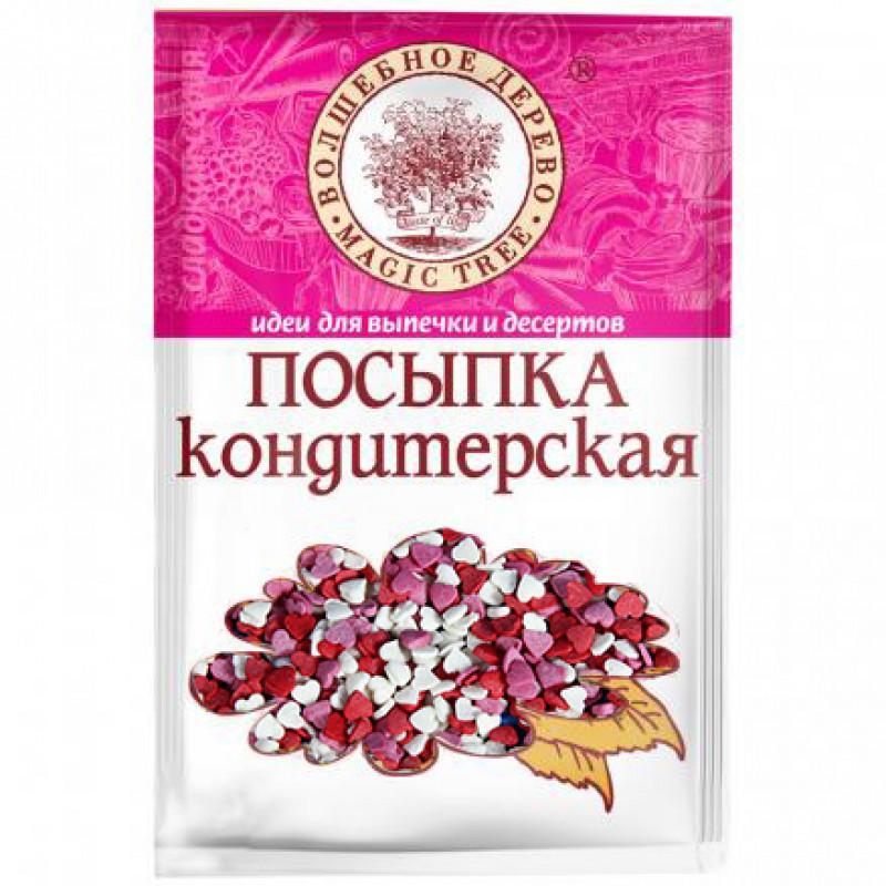 Посыпка разноцветная Волшебное дерево, сердечки красно-бело-розовые, 40г