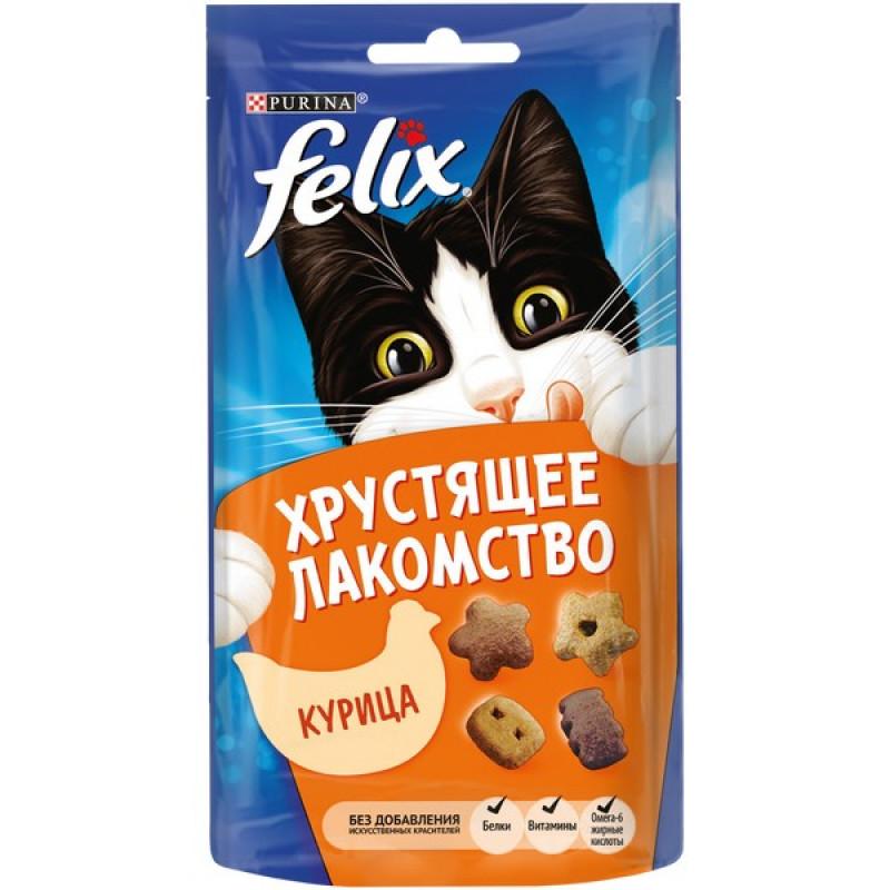 Хрустящее лакомство Felix для взрослых кошек с курицей, 60г