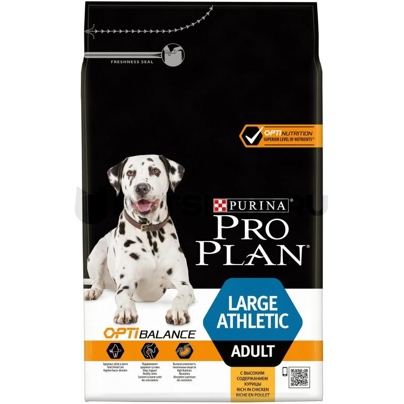 Корм PRO PLAN OPTIBALANCE для взрослых собак крупных пород атлетического телосложения, с курицей, 14кг