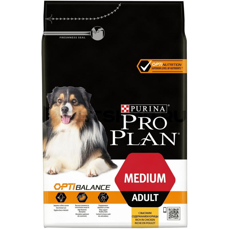 Сухой корм Purina Pro Plan для взрослых собак средних пород, курица с рисом, 14 кг