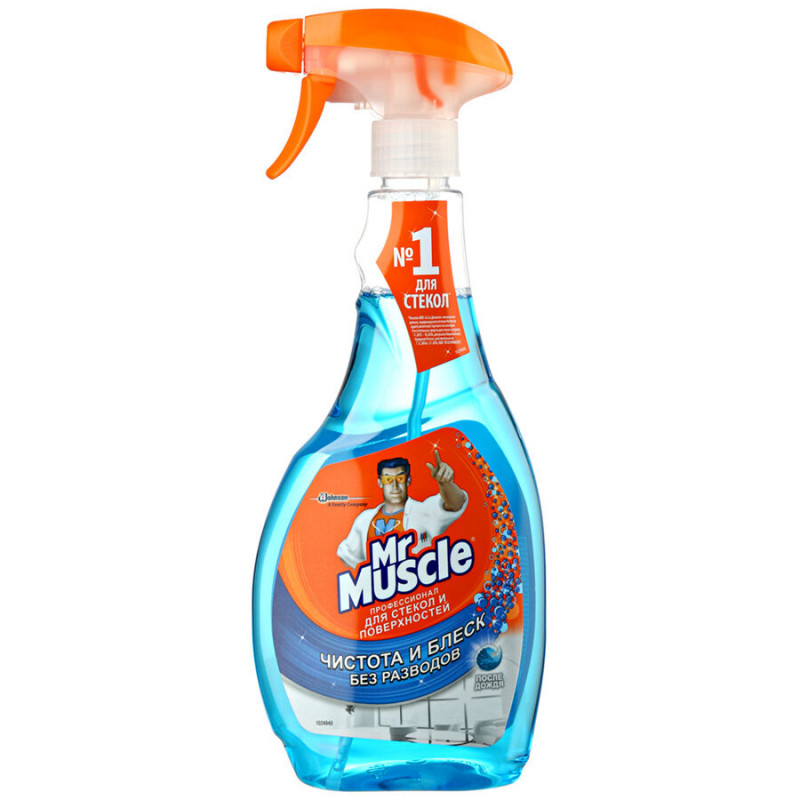 Средство для мытья стекол и зеркал с нашатырным спиртом Mr. Muscle, 500 мл
