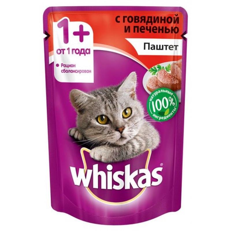 Корм для кошек Whiskas, паштет говядина/печень, 85 г