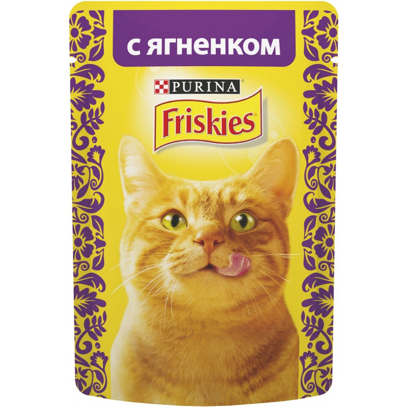 Консервы для кошек Purina Friskies, ягнёнок в подливе, 85 г