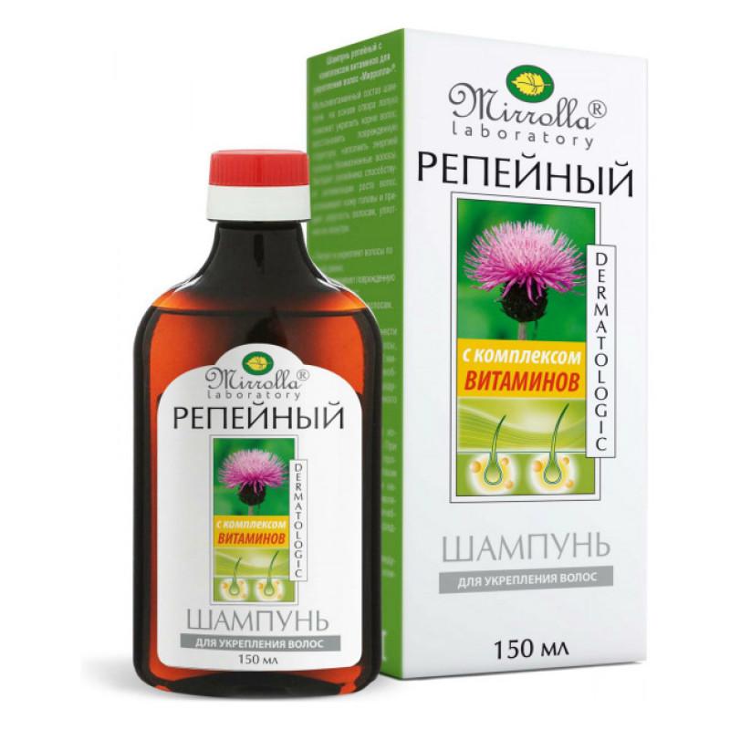 Шампунь Mirrolla репейный с комплексом витаминов для укрепления волос, 150 мл