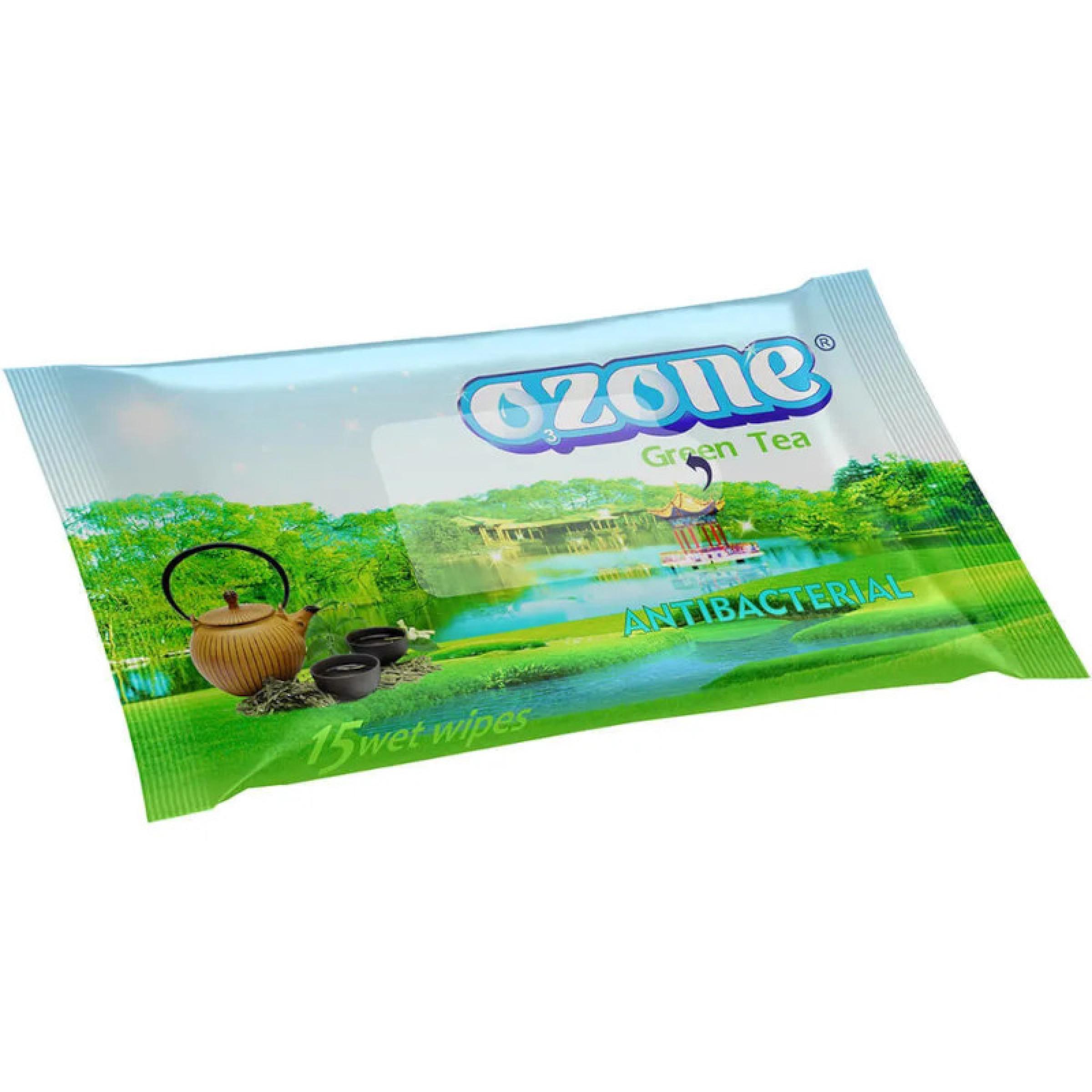 Влажные салфетки OZONE с зеленым чаем, 15 штук