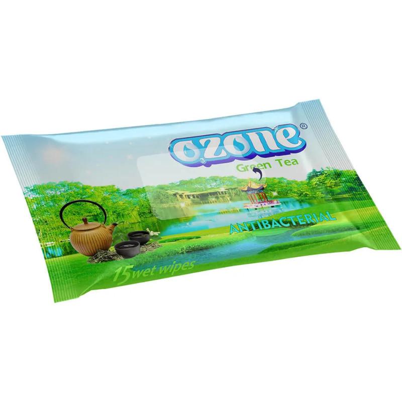 Влажные салфетки OZON с зеленым чаем, 15 штук