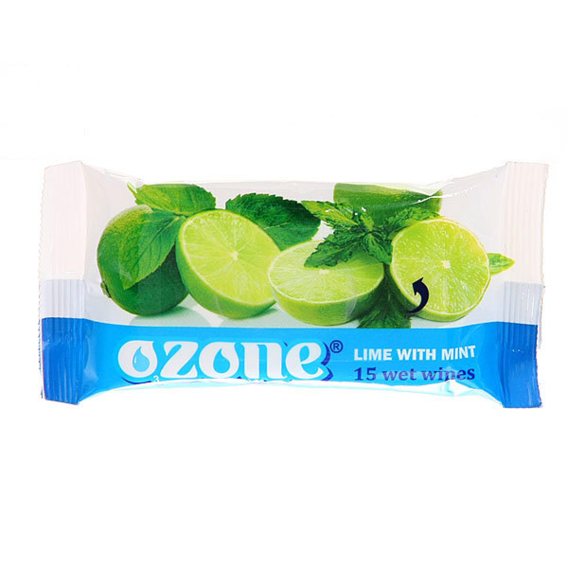 Влажные салфетки OZONE с лаймом и мятой, 15 штук