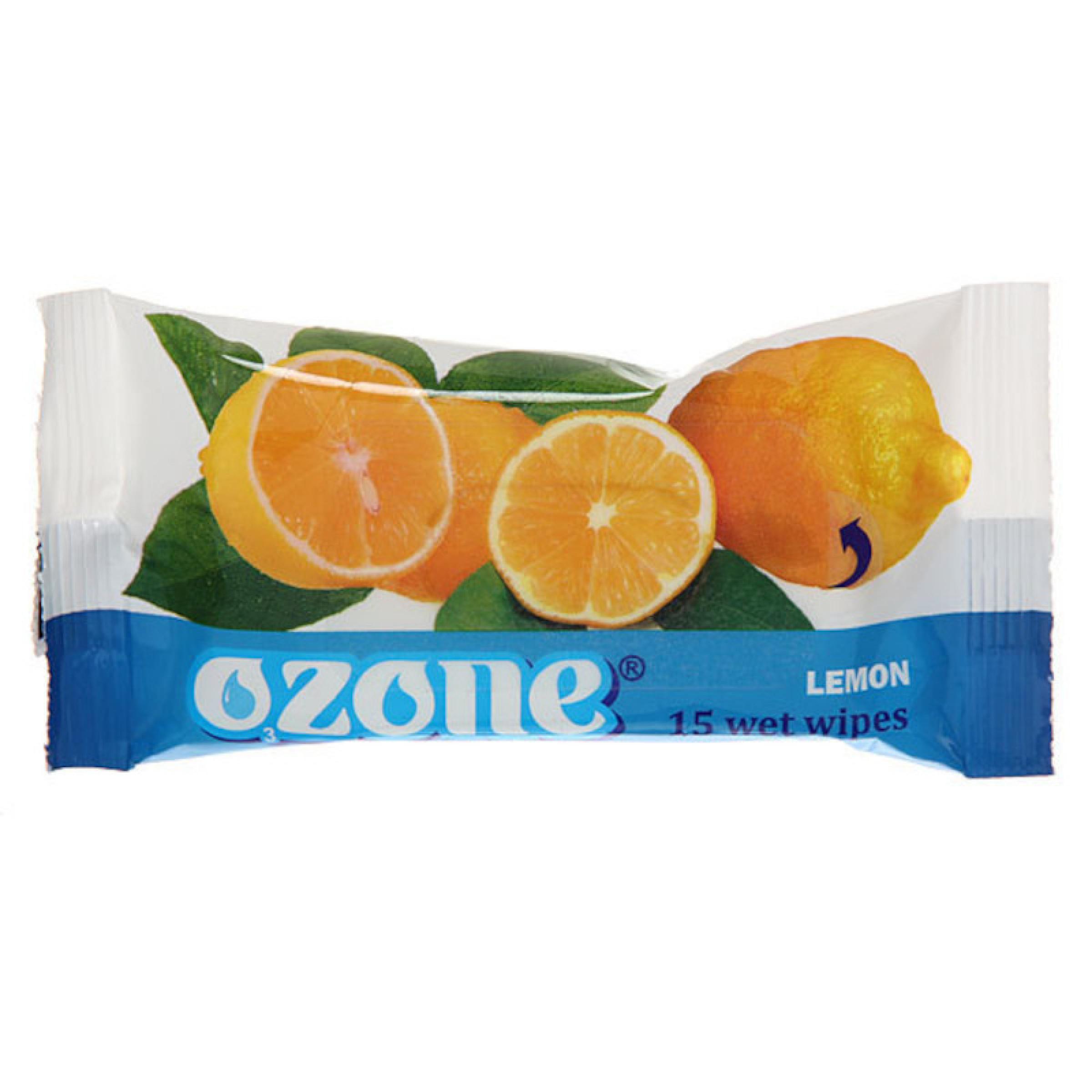 Влажные салфетки OZONE с ароматом лимона, 15 шт.