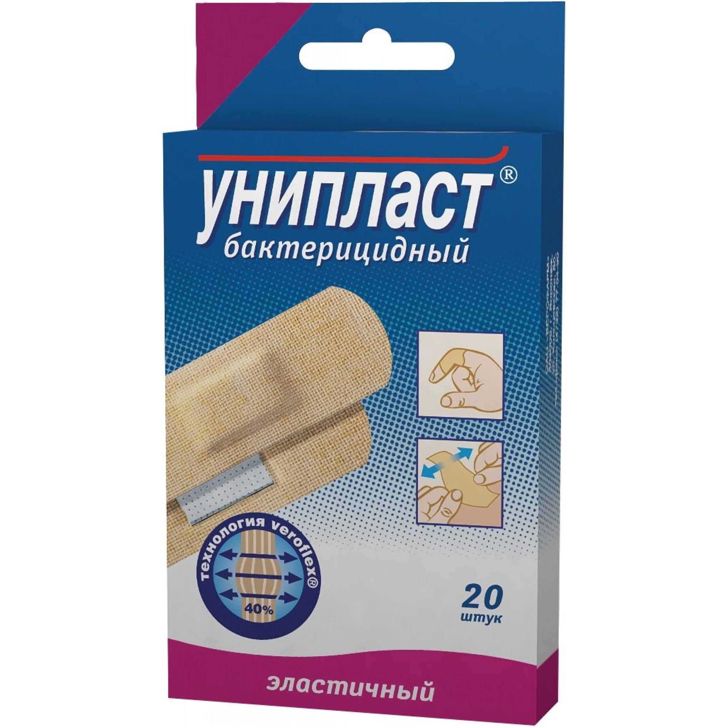 Лейкопластырь Унипласт бактериальный эластичный 1,9x7,2см, 20 шт.