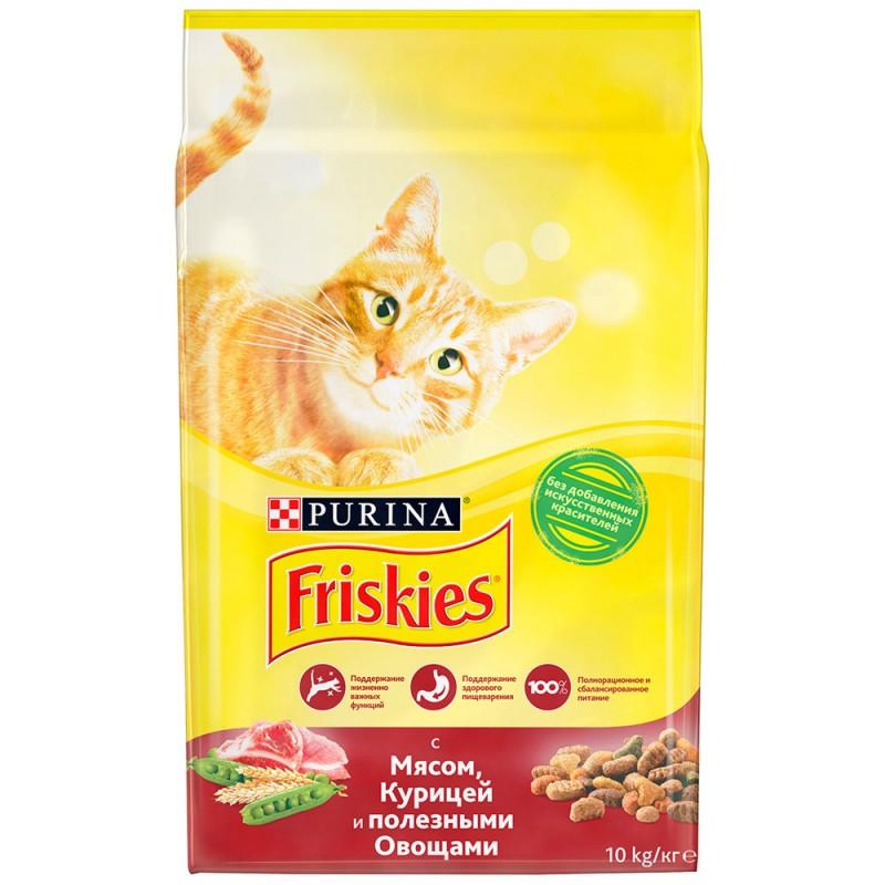 """Сухой корм для кошек с мясом и полезными овощами, """"Friskies"""", 10кг"""