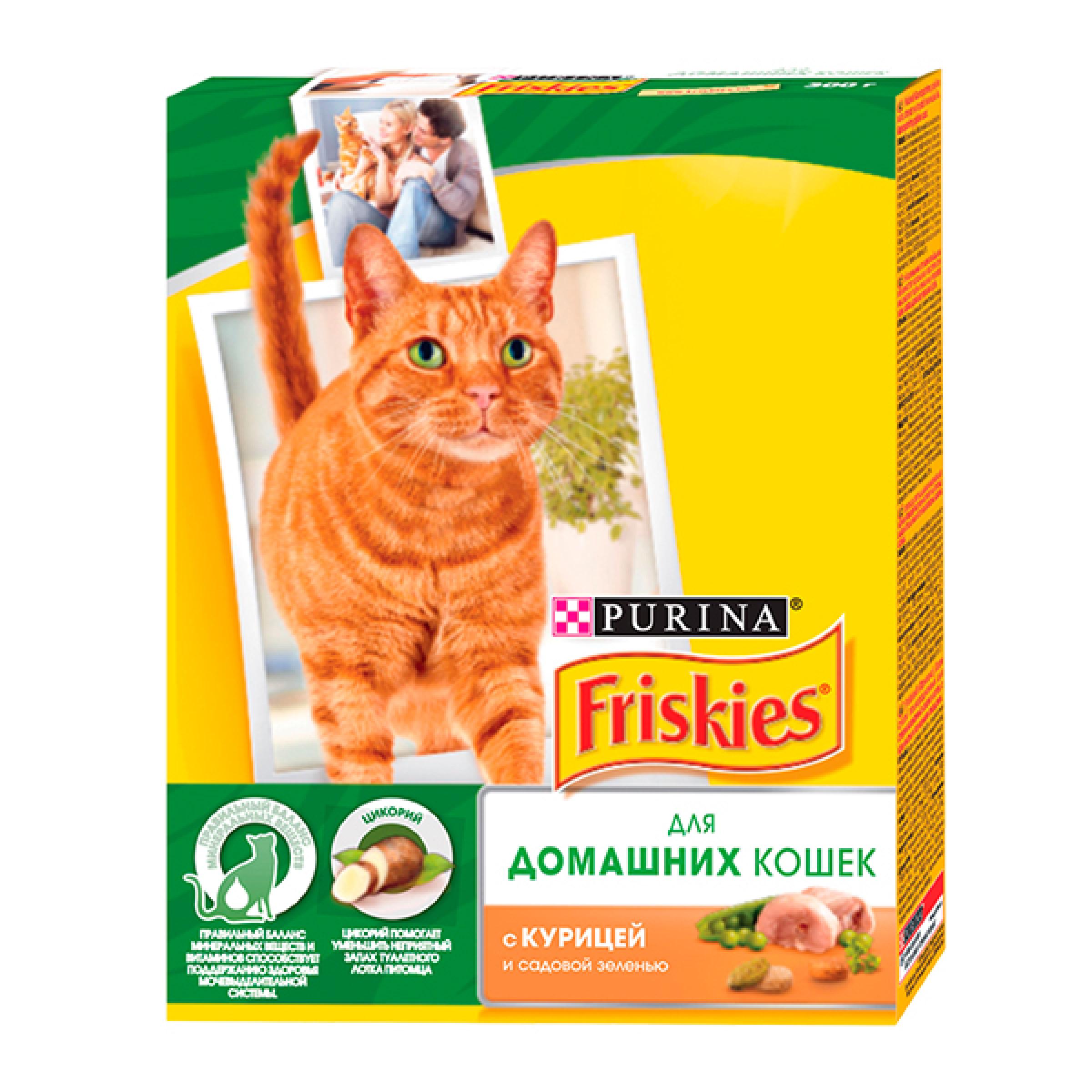 Сухой корм Friskies® для взрослых кошек с курицей и полезными овощами, 300 гр
