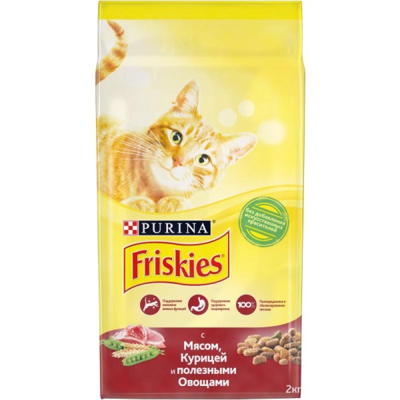 Сухой корм для кошек с мясом и полезными овощами Friskies, 2 кг