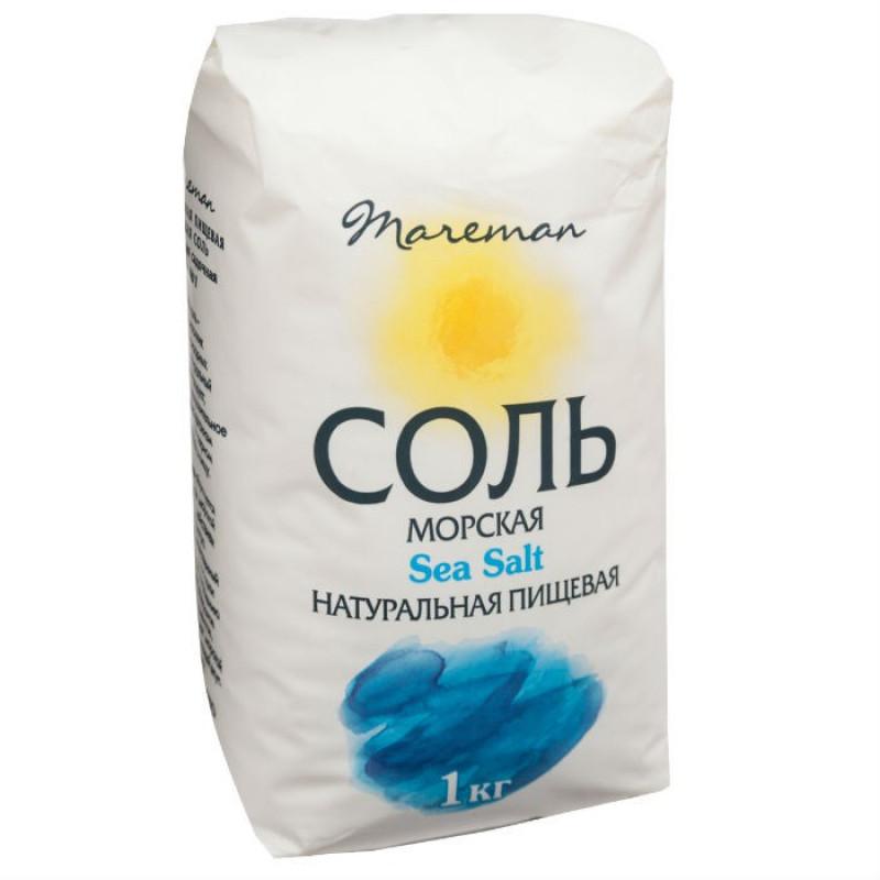 """Соль морская пищевая средняя помол """"Mareman """", 1кг"""