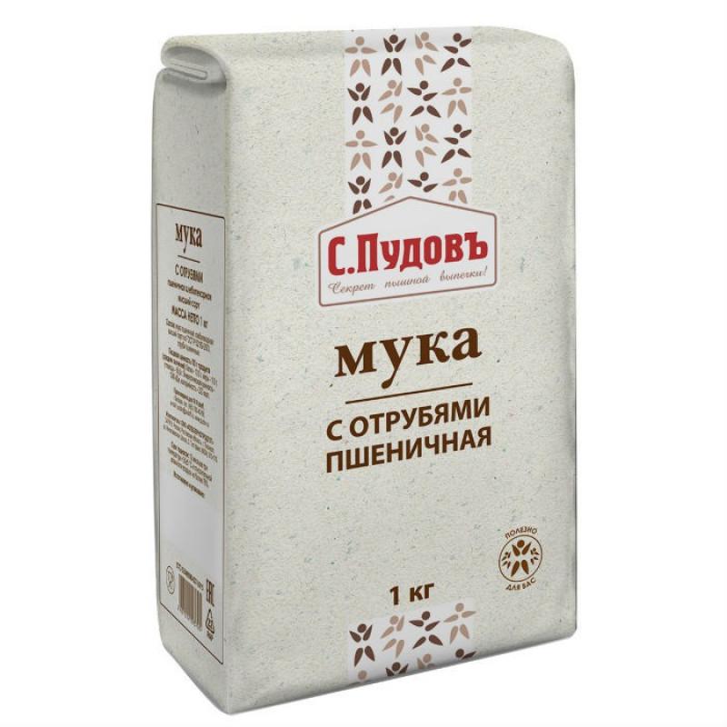 Мука пшеничная с отрубями С. Пудовъ, 1 кг