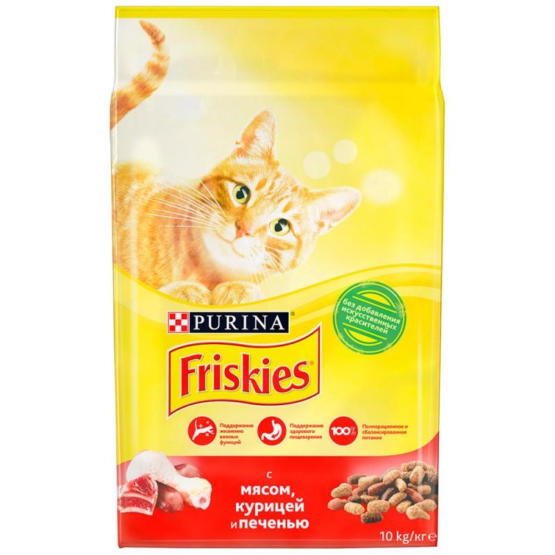 Сухой корм для взрослых кошек с мясом курицей и печенью Friskies, 10кг