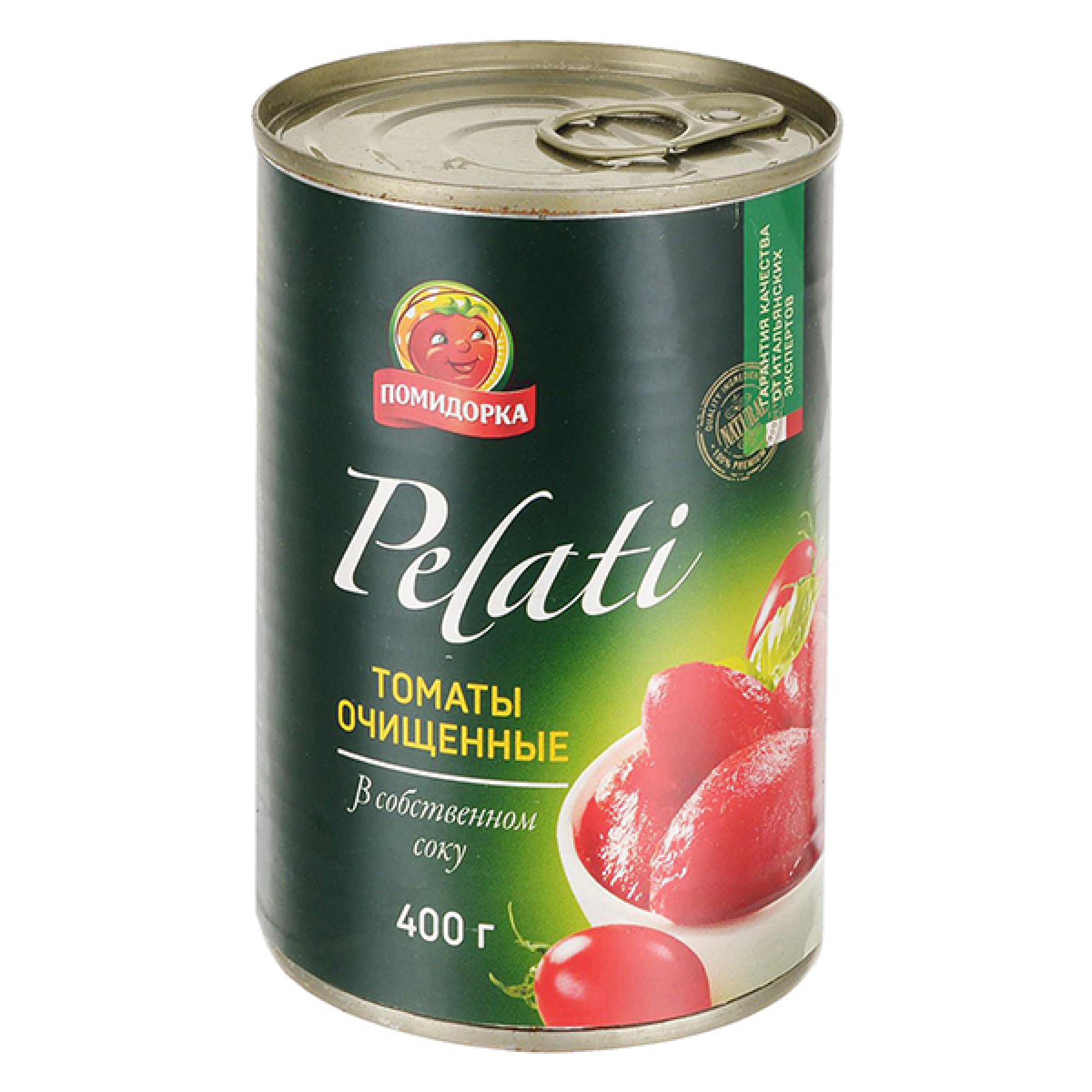"""Томаты очищенные в собственном соку Pelati """"Помидорка"""", 425гр"""