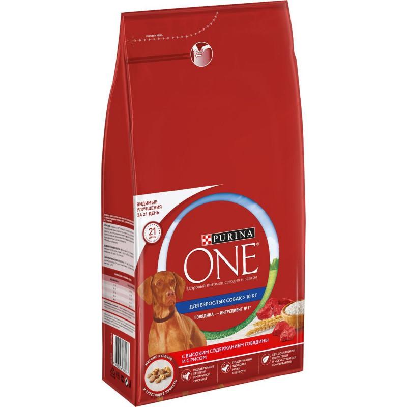 Сухой корм Purina ONE® для взрослых собак средних и крупных пород, с высоким содержанием говядины и с рисом, 7 кг
