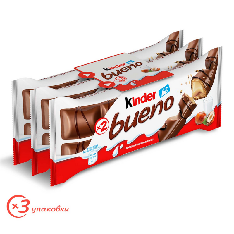 Вафли Kinder Bueno с молочно-ореховой начинкой, 3*43г (129г)
